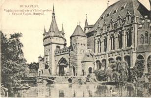 Budapest XIV. Városliget, Vajdahunyad-vára, tó, csónakázók, N. M. Bp. (EK)