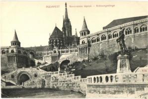 Budapest I. Királyi vár, Halászbástya, koronázási lépcső, Taussig A. kiadása (EK)