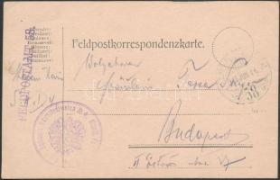 1915 Tábori posta levelezőlap FP 58 + K.u.K. Schwere Haubitzdivision No 4. Munit. Parks. Kommando
