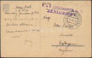 1916 Tábori posta levelezőlap K.u.K. EP 185 + K.u.K. GARNISONSSPITAL No. 14.