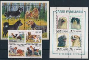 Kutya, állatok motívum tétel 4 klf bélyeg, 3 blokk és 1 kisív 2 stecklapon