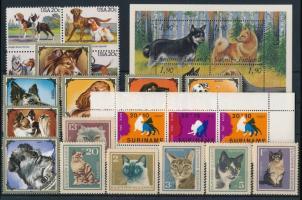 Kutya, macska motívum tétel 17 klf bélyeg és 2 blokk