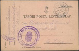 1916 Tábori posta levelezőlap EP Uzice im Serbien + M. kir. pécsi 19. népfölkelés parancsnokság I. hadtápzászlóalj
