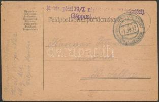1917 Tábori posta levelezőlap EP VALJEVO im SERBIEN + M. kir pécsi 19/I. népfölkelő parancsnokságzászlóalj Géppuskás század