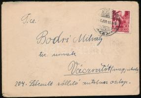 1944 Levél Szent Margit 30f bérmentesítéssel BALATONALMÁDI - VÁCRÁTÓT postaügynökségi bélyegzéssel