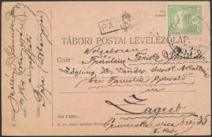 1915 Levelezőlap Turul 5f bérmentesítéssel PÁPA P.U. pályaudvari bélyegzéssel Zágrábba küldve