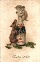Boldog Újévet / dog, cat, clovers, champagne (fl)