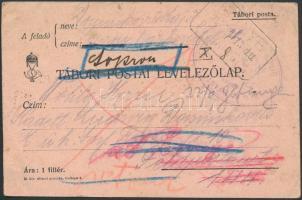 1915 Tábori posta levelezőlap PINNYE postaügynökségi bélyegzéssel