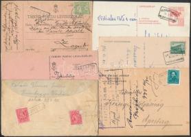 Kis küldemény tétel, benne 6 db levél és levelezőlap pályaudvari és postaügynökségi bélyegzésekkel