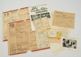 cca 1900-1940 Kis, vegyes nyomtatvány és okmány tétel (10 db), közte hajózási reklám, hajós számla, gyorsáru-fuvarlevél, hajtási jogosítvány, adóbizonyítvány