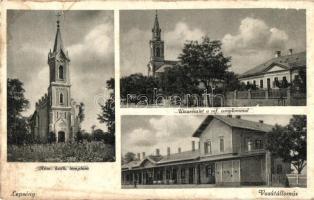 Lepsény, Római katolikus és református templom, vasútállomás, Aigner Lajos kiadása (Rb)