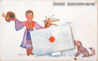 Székesfehérvár, folklór, népviseletes leporellólap 10 db városképes képpel s: Klaudinyi (EK)