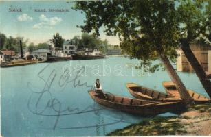Siófok, kikötő, csónakok, gőzhajó, Sió-részlet (EB)