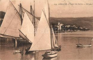 Abbazia, Segler im Hafen / csónakkikötő / port (EK)