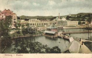 Vízaknasósgyógyfürdő, Ocna Sibiului; Nagyszálló, Rákóczi és Mikes tó, kiadja G. A. Seraphin / spa, hotel, lake