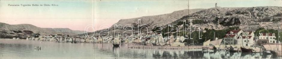 Baska; Panorama Trgovista Baske na Otoku Krk-u. / market town, port, 3-tiled panoramacard