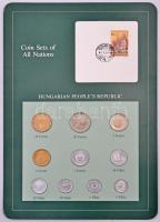 1984. 2f-20Ft (10xklf) Coin Sets of All Nations forgalmi szett felbélyegzett kartonlapon, 2Ft-os bélyeggel T:1