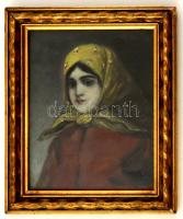 Smola jelzéssel: Sárga fejkendős lány. Olaj, karton, üvegezett keretben, 23×18 cm