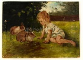Olvashatatlan jelzéssel: Kislány és a nyuszik. Olaj, karton, 24×32 cm