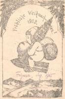 1915 Fröhliche Weihnachten! / WWI military Christmas greeting postcard