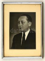 Deutsch Aladár (1899-1973) fül-orr-gégész főorvos fotója, üvegezett keretben, 22×16 cm