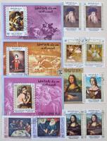 Festmény motívum gyűjtemény sok teljes sorral, blokkal 8 lapos A4-es berakóban