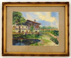 Julius Weiss (?-?) : Ház a faluszélen 1911. Akvarell, papír, üvegezett keretben. 14×19 cm