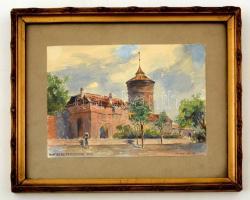 Julius Weiss (?-?) : Nürnberg Frauentor 1913. Akvarell, papír, üvegezett keretben. 14×19 cm