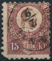 1871 Réznyomat 15kr, vöröses színű bélyeg, hamisítvány összehasonlító célra / forgery for comparison (sarokhiba / missing corner)