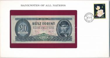 1975. 20Ft Banknotes of all Nations lezárt borítékban, bélyeggel és bélyegzéssel T:I