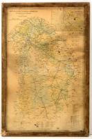 Pest-Pilis-Solt-Kiskun vármegye közigazgatási térképe, terv.: Tallián Ferenc, üvegezett fa keretben, 55×35 cm