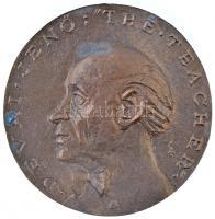 Soltra Elemér (1922-2013) 1985. Dévai Jenő: The Theacher / Angol nyelvtanárom emlékére Br plakett (84mm) T:2 oxidációs fo.