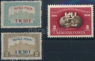 1918 Repülő posta sor + 1950 UPU blokkból kitépett bélyeg
