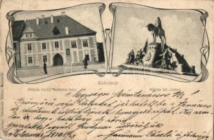 Kolozsvár, Cluj; Mátyás király szülőháza, Mátyás szobor, kiadja Fuhrmann Miklós / Birth house of Matthias Corvinus, statue, Art Nouveau (Rb)