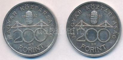 1992. 200Ft Ag MNB (2x) T:2 patina
