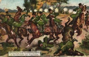Vernichtung eines Kosakenregiments in der Schlacht bei Augustow / WWI Battle of Augustow, Russian cossack troop destroyed by the German Army (EK)
