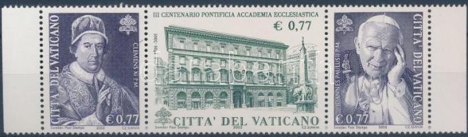 Pontifical Academy stripe of 3, 300 éves a Pápai Akadémia hármascsík