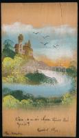 Fából készült tájképes akvarell képeslap / wooden hand painted art postcard