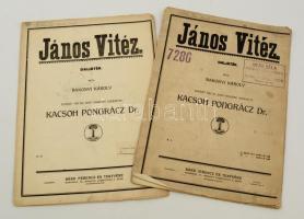 cca 1920 Bakonyi Károly: János vitéz daljáték, 1-2. füz., kotta, kopott papírkötésben