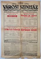 1919 Bp., a Városi Színház műsorlapja (febr. 6-8.), a hajtások mentén szakadásokkal