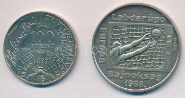 1983. 100Ft Cu-Ni FAO (II.), eredeti tokban, tanúsítvánnyal + 1986. 100Ft alpakka Fáy András + 1988. 100Ft alpakka Labdarúgó Európa-bajnokság T:BU