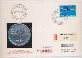 Svájc 1969. 50 éves a svájci légiposta Ag emlékérem bélyegea levelezőlapon (5g/0.900/45mm) T:1 Switzerland 1969. 50th Anniversary - Swiss Airmail Ag commemorative medallion on postcard with stamps (5g/0.900/45mm) C:UNC
