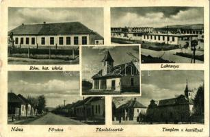 Nána, Párkánynána, Stúrovo; Római katolikus iskola, laktanya, Fő utca, tűzoltószertár, kastély / church, military barracks, street, firefighter depot, castle (kopott sarkak / worn corner)