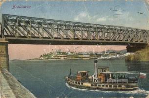 Pozsony, Pressburg, Bratislava; gőzhajő. vasúti híd / steamship, railway bridge (fa)