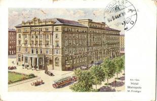 Vienna, Wien I. Hotel Metropole, automobiles, tram s: Bienert (kis szakadás / small tear)