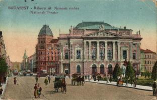Budapest VIII. Rákóczi út, Nemzeti színház, villamosok (EK)