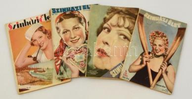 1934-1937 Színházi Élet. Színházi, film, irodalmi és művészeti szaklap 4 száma, 1934. 34. szám, 1937. 33,34,35 számok, változó, többnyire szakadozott állapotban.