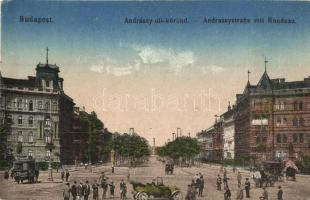 Budapest VI. Andrássy út, körönd, automobil, Szarvas szappan reklám (EK)
