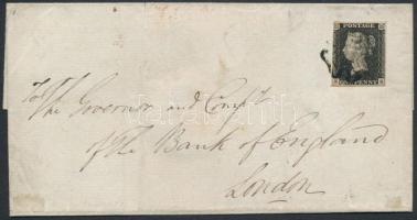 1840 Black Penny levélen a Bank of Englandnek CHICHESTER - London