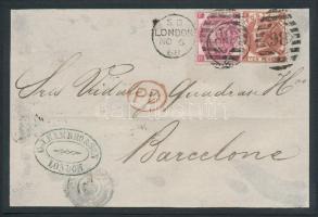 1868 3P + 10P Londonból Barcelonába küldött levél előlapján (kartonra ragasztva)